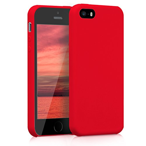 kwmobile TPU Silicone Case Compatible with Apple iPhone SE (1.Gen 2016) / 5 / 5S - Soft Flexible Rubber Protective Cover - Red Matte from kwmobile