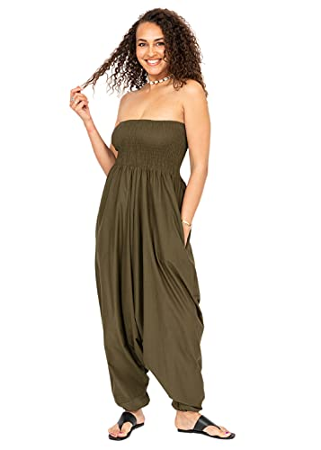 Cotton Maxi Harem Trouser Jumpsuit Olive (One Size) from likemary