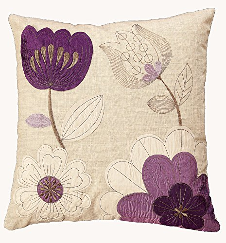 43 CM CUSHION COVER FLORAL EMBROIDERED DESIGN CHOICE OF 5 COLOUR WAYS (PURPLE 33091) from linen702