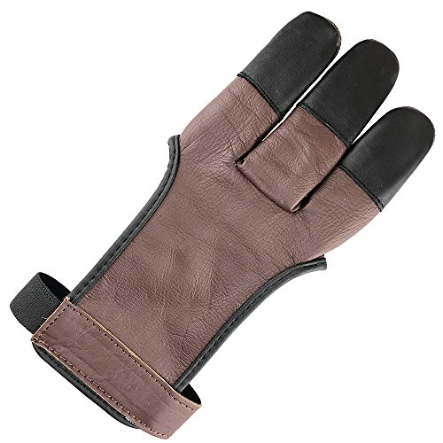 longbowmaker Archery Glove 3 Finger Cow Leather Shooting Protective Gear for Left and Right Hand Archer AG31XL from longbowmaker