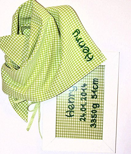 Gingham Christening Gift with Tartan Cloth and Door Sign from mein-name