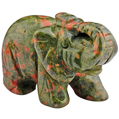 mookaitedecor Natural Unakite Elephant Ornament Figurine,Healing Crystal Energy Gemstone Reiki Statue Home Decor,1.5 Inches from mookaitedecor