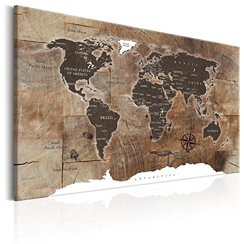 "murando Pinboard World Map 120x80 cm / 47,2x31,5"" 1 Piece Cork Board & Canvas Print On Non-Woven Material XXL Memoboard Noticeboard Message Board Image Picture Home Decor Wall Map k-C-0050-p-d from murando"