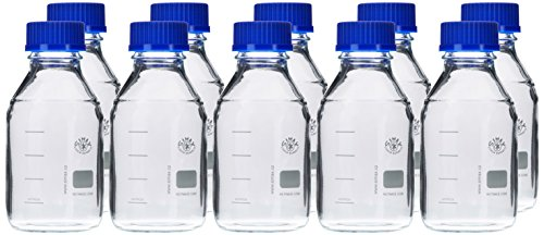 Neolab E-1431, Laboratory Bottles GL 45 500 ml, ISO Thread, Cap and Spout Ring, Pack of 10 from neoLab