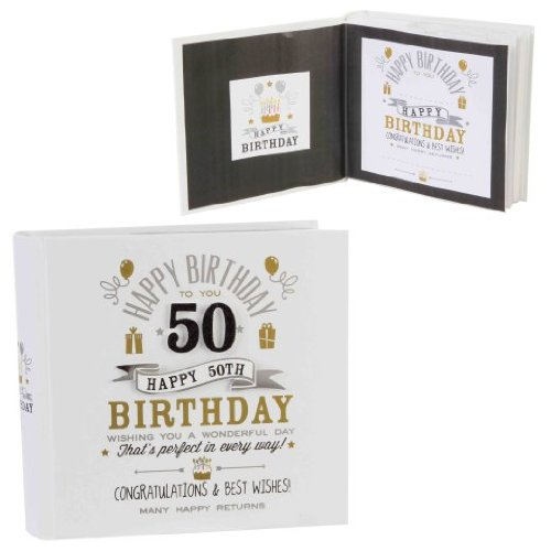 Signography 50th Birthday Photo Album 4x6 Black and Gold Design (FL29950) from new item