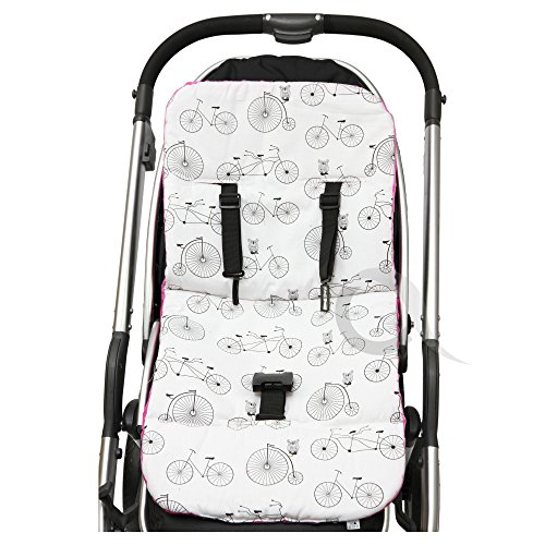 REVERSIBLE cotton & minky Pram INSERT, LINER covers Universal (bike/ pink) from olobaby