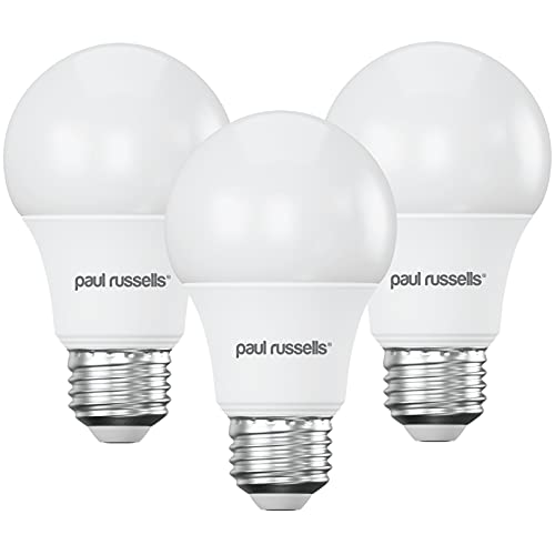 3 Pack 7W GLS LED Light Bulbs E27 ES Edison Screw Paul Russells Bright 7W=60W A60 Globe 270 Beam Lamp 4000K Cool White 60W Incandescent Replacement from paul russells