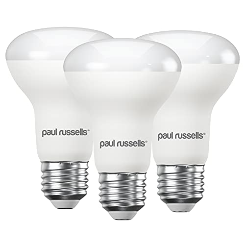 3 Pack 8W Reflector LED Light Bulbs E27 ES Edison Screw Paul Russells Bright 8W=65W Spotlight R63 Spot Light 270 Beam Lamp 6500K Day Light 65W Incandescent Replacement from paul russells