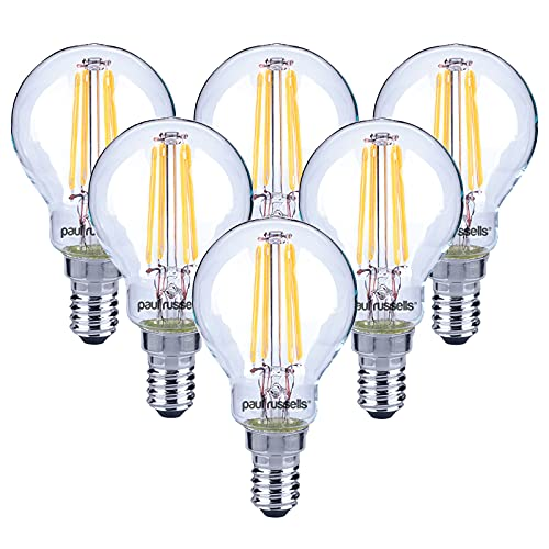 6 X Vintage Style Small Edison Screw LED Filament Clear Bulbs 4W Antique Golf Light G45 Small Round Globe 360 Beam Angle Lamp E14 SES 2700K Warm White 40W Incandescent Replacement [Pack of 6 Bulbs] from paul russells