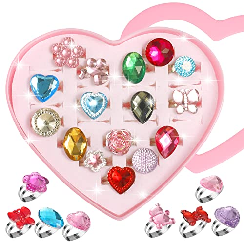 pengxiaomei 24 Pcs Little Girls Princess Jewelry Rings,Dress up Rings Girls Princess Play Jewelry Toy Adjustable Rings Crystal with Heart Shaped Pink Box from pengxiaomei