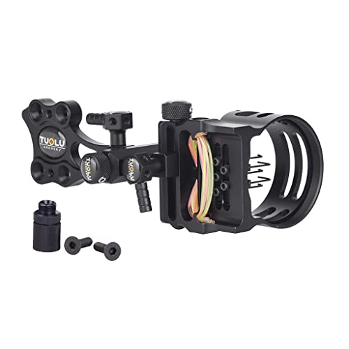 "perfk Micro Adjust 5 Pin .019"" Compound Bow Archery Sight - Short Pole Camo/Black - Black from perfk"