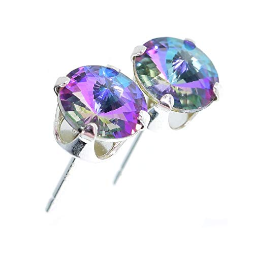 925 Sterling Silver stud earrings for women made with sparkling Starlight crystal from Swarovski®. London jewellery box. Hypoallergenic & Nickle Free Jewellery for Sensitive Ears. from pewterhooter