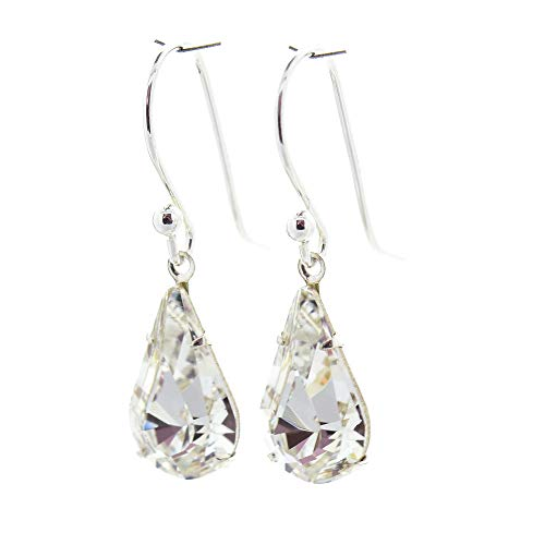 925 Sterling Silver drop earrings for women made with sparkling White Diamond teardrop crystal from Swarovski®. London jewellery box. Hypoallergenic & Nickle Free Jewellery for Sensitive Ears. from pewterhooter