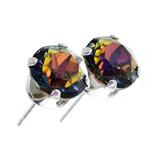 925 Sterling Silver stud earrings for women made with sparkling Volcano crystal from Swarovski®. London jewellery box. Hypoallergenic & Nickle Free Jewellery for Sensitive Ears. from pewterhooter