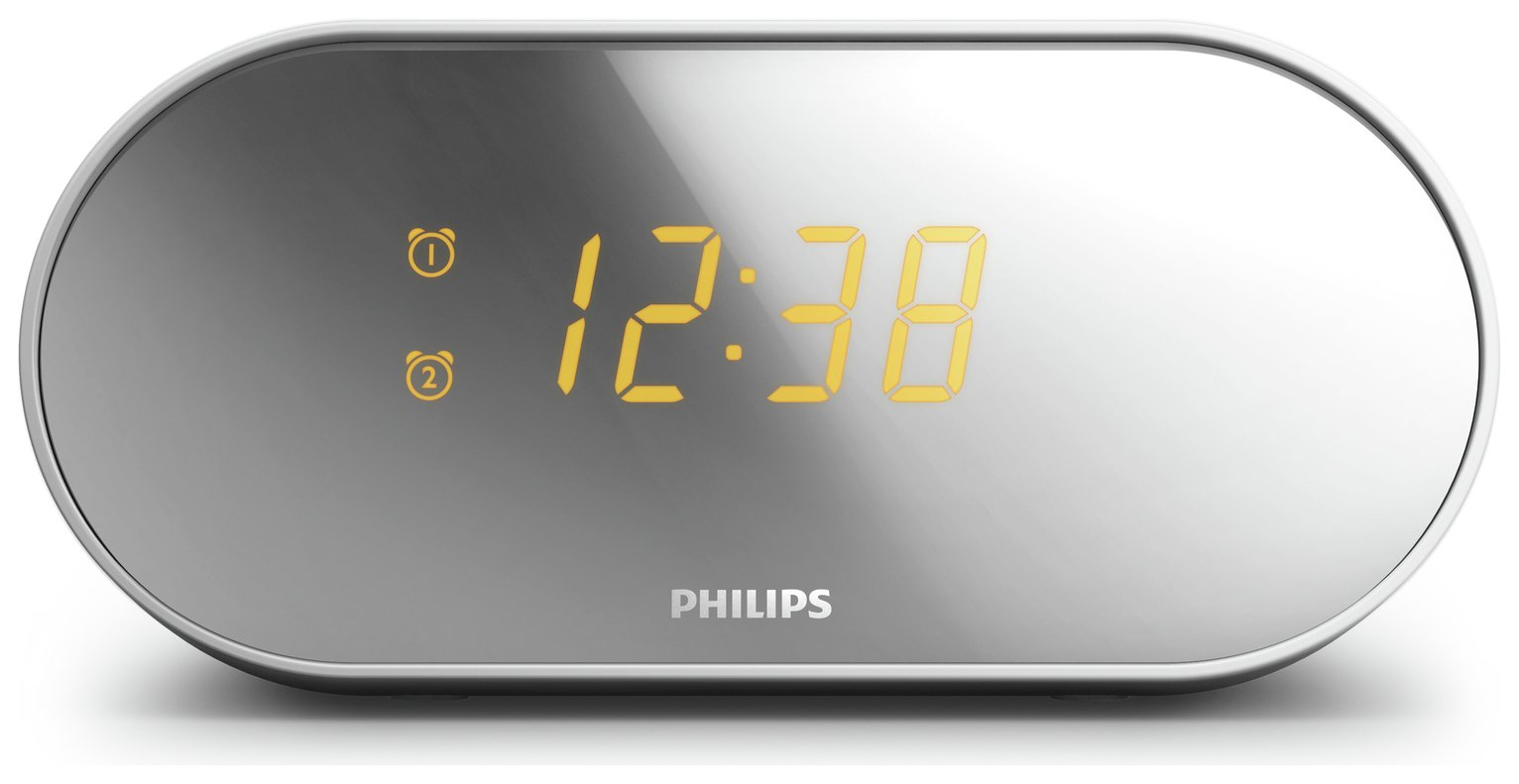Philips AJ2000 FM Clock Radio - Silver from philips