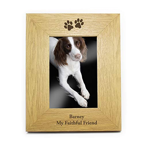 6x4 Oak Paw Prints Photo Picture Frame Personalised Present Gift from C.P.M.