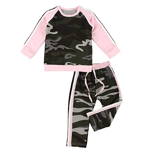 Puseky Baby Girl Camouflage Long Sleeve Shirt+Pants Tracksuit Outfit Sports Suit (4-5 Year) from puseky