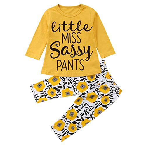 4dadfe23e255c puseky Toddler Baby Girls Cute Letter Print Long Sleeve Shirt Floral Pant  Tracksuit Outfits Set (