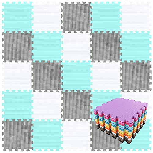 qqpp Mat,Soft EVA Foam Baby Play Mats For Floor, Jigsaws Puzzle Board Portable Foldable ,18 Tiles(30*30*1.0cm),White, Green,Gray.QQC-AHLb18N from qqpp