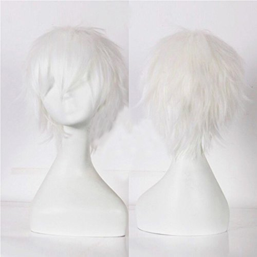 Unisex Short Cosplay Full Wigs Natural Layer Straight Hair Anime Costume Party Wig Fancy Dress for Women Men Boy Girls (Blonde White) from Rich Choices