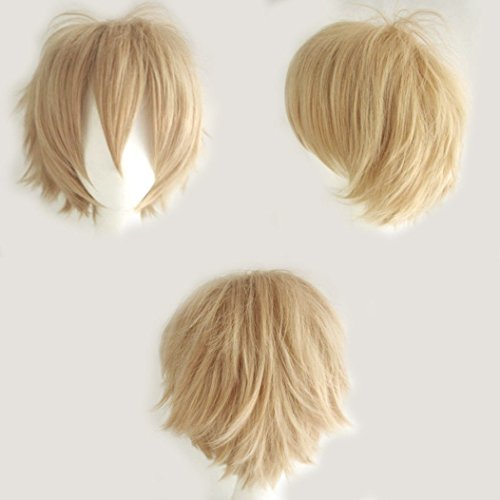 Unisex Short Cosplay Full Wigs Natural Layer Straight Hair Anime Costume Party Wig Fancy Dress for Women Men Boy Girls (Linen Blonde) from Rich Choices