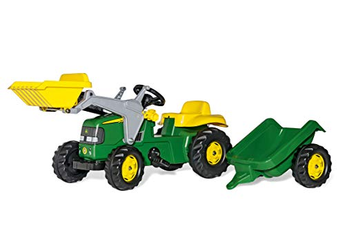 John Deere Ride-on Tractor with Loader and Detachable Trailer from rolly toys