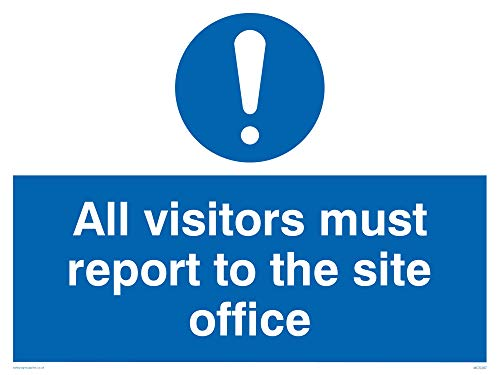 "Viking Signs MC5397-A3L-AC""All Visitors Must Report To Site Office"" Sign, Aluminium Composite, 300 mm H x 400 mm W from Viking Signs"