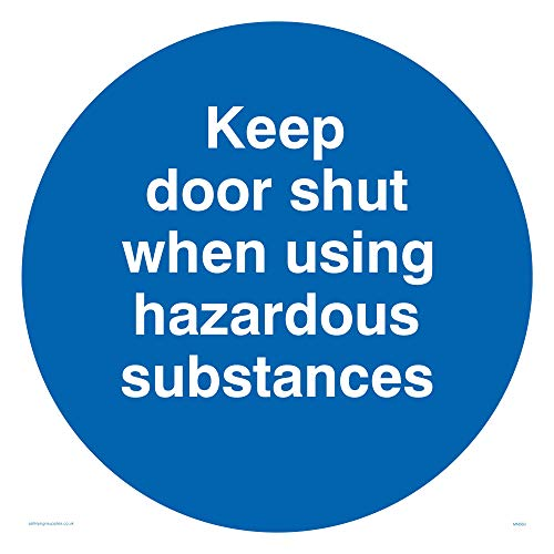 "Viking Signs MN660-S40-1M""Keep Door Shut When Using Hazardous Substances"" Sign, 1 mm Semi-Rigid Plastic, 400 mm H x 400 mm W from Viking Signs"