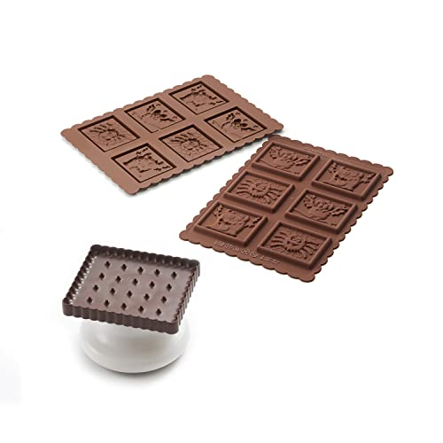 silikomart Kit for Preparing Biscuits Topped with Chocolate, Brown and White from silikomart