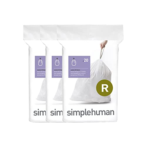 simplehuman Code R, Custom Fit Bin Liners, 60 Liners, White, 10 L from simplehuman