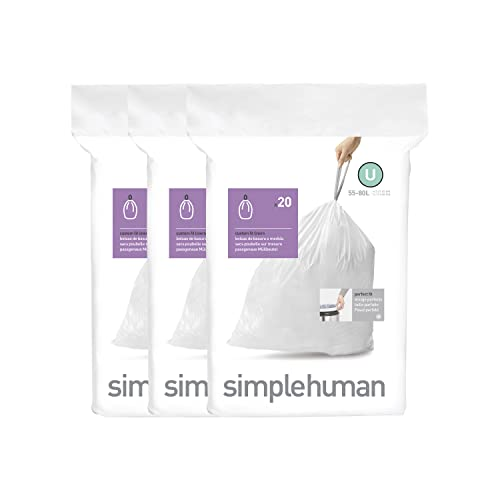 simplehuman Code U, Custom Fit Bin Liners, 60 Liners, White, 55 L from simplehuman