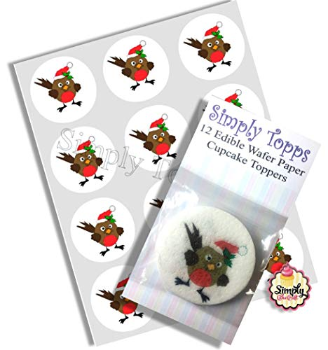 12 Robin Christmas rice paper cupcake toppers 40mm cake decoration from simply topps