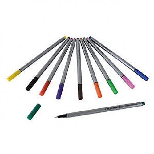 10 COLOURED FINELINERS -COLOURWORLD. 0.4mm TIP RAINBOW ART DRAWING COLOURED PENS from smco