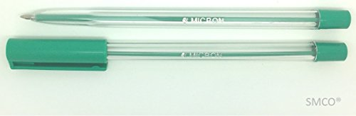 5 Green Medium Tip Micron Ballpoint Pens with Airflow Cap Vivid Bright Colour from smco