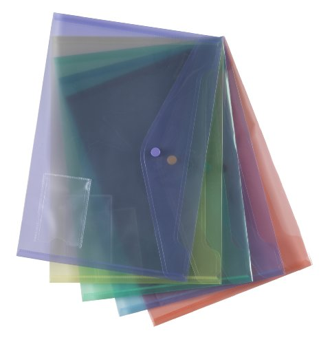 Qty 5 Assorted Document Wallet Folder Plastic A4 Clear Popper Stud Closing Hard Wearing With ID Holder Document Folders, a safe and stylish way to store and carry documents Manufactured from hard wearing transparent polypropylene with a press-stud closing mechanism keeping contents secure Suitable for A4 plus papers 1 each blue purple yellow green red from smco