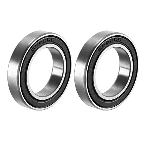 sourcing map 6802-2RS Deep Groove Ball Bearing Double Sealed 1180802, 15mm x 24mm x 5mm Carbon Steel Bearings (Pack of 2) from sourcing map