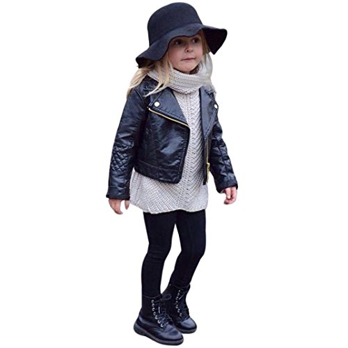 squarex Autumn Winter Girl Boy Baby Outwear Leather Coat Short Jacket Clothes (6-12Months, Black) from squarex