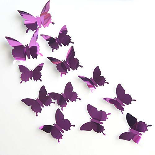squarex Stickers, 12PCS Butterfly Silver Mirror Decoration Home Room Art 3D DIY Wall Stickers (Purple) from squarex