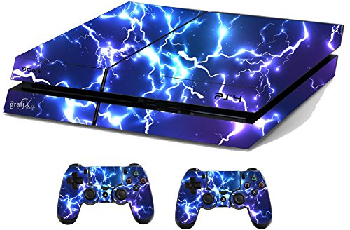 Blue Electric Sticker/Skin PS4 Playstation Console & Remote controller stickers, ps4sk15 from the grafix studio