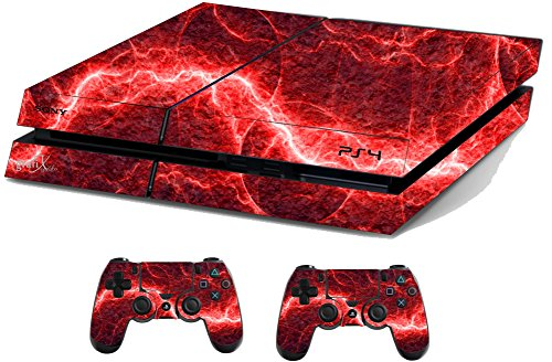Red Electric Sticker/Skin PS4 Playstation Console & Remote controller stickers, ps4sk21 from the grafix studio