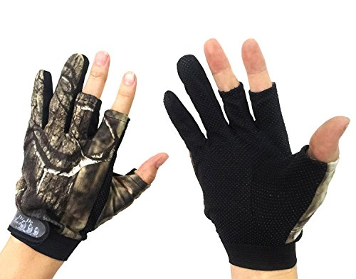 THKFISH Fishing Gloves, 1Pair 3 Cut Finger Anti-slip Breathable Fishing Hunting Jungle Camouflage Camo Fishing Gloves from THKFISH