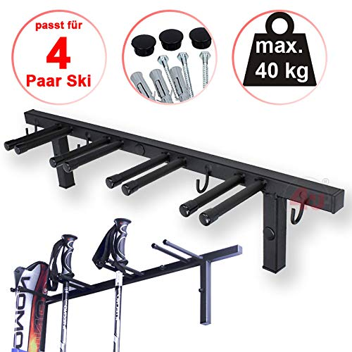 SKI RACK HANGER WALL MOUNTED FOR 4 PAIRS from toys4u