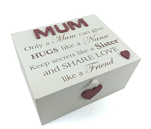Mum Gift Vintage Style Large Solid Wooden Keepsake Box with Sentiment from ukgiftstoreonline