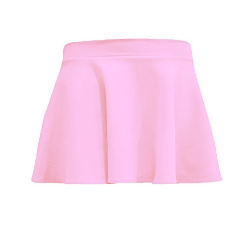 unbranded Kids Girls Children HIGH Waisted Stretch Plain Flippy Flared Short Skater Skirts (7/8, Baby Pink) from unbranded