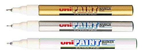 Uni-Ball PX-203 Oil Based Paint Markers Extra Fine Gold, Silver & White TRIPLE from Uni-Ball