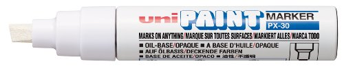 Uni-ball Broad Paint Marker with Chisel Tip PX-30 - White (Pack of 6) from uni-ball