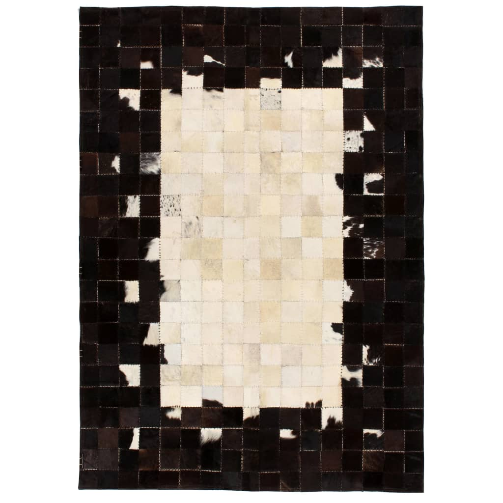 vidaXL Rug Genuine Leather Patchwork 80x150 cm Square Black/White from vidaXL