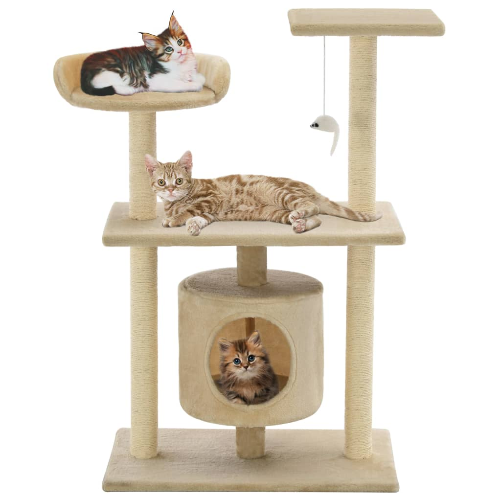 vidaXL Cat Tree with Sisal Scratching Posts 95 cm Beige from vidaXL