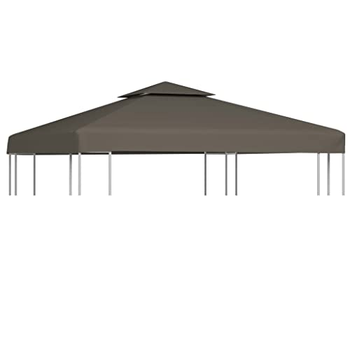 vidaXL 2-Tier Gazebo Top Cover 310g/m² 3x3m Taupe Roof Replacement Tent Canopy from vidaXL