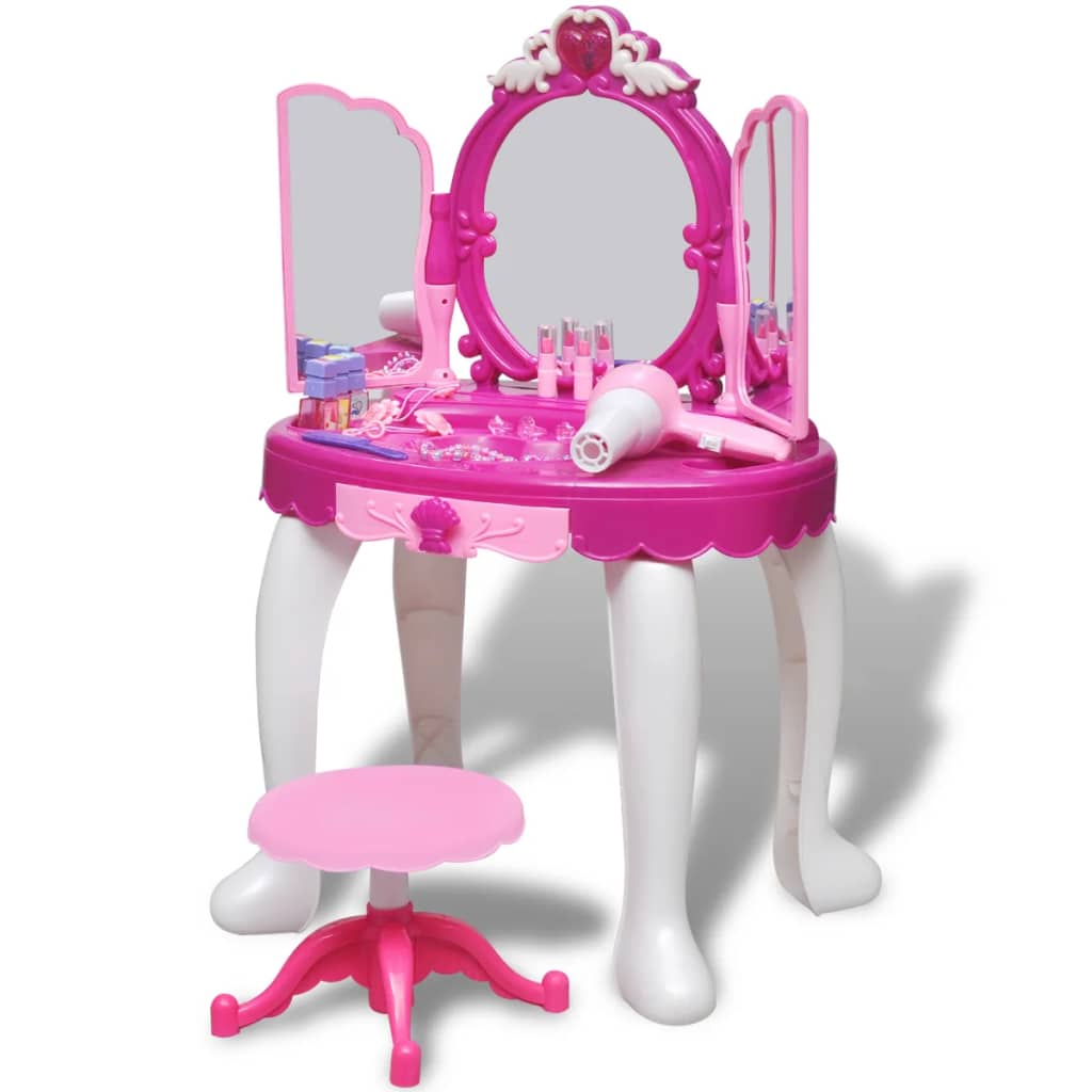 vidaXL 3-Mirror Kids' Playroom Standing Toy Vanity Table with Light/Sound from vidaXL